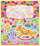 A colorful greeting card with childrens toys Royalty Free Stock Photos