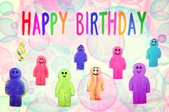 Colorful greeting card with figures and circles, text happy birt Royalty Free Stock Photo