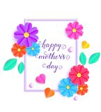 Colorful greeting card. Card with colorful paper flowers and leaves on white background Royalty Free Stock Images