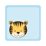 Colorful greeting card with picture tiger animal. Illustration Royalty Free Stock Photos