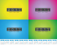 Colorful greeting cards for 2011 bonus calendar Stock Photos