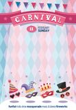 Colorful greeting poster for Carnival. Place for your text message. Flat design. Vector illustration Stock Photography