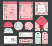 Colorful greeting wedding invitation card illustration set. Flower vector design concept collection Royalty Free Stock Image