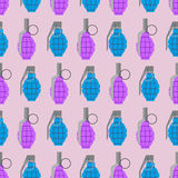 Colorful  grenade seamless pattern. Military background  Royalty Free Stock Image