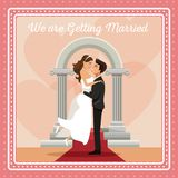 Colorful gretting card with couple groom carrying to bride text we are getting married Stock Images