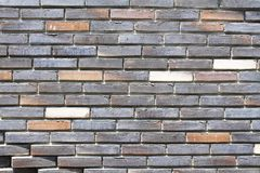 Colorful grey, beige, black and brown brick wall. As background, texture Stock Photography