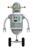 colorful grey robot with two antennas and two wheels icon Stock Photography