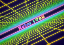 Colorful grid background with text Retro 1980 Stock Photography