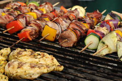 Colorful grill shish. Photograph of fresh shishes for grill Royalty Free Stock Image