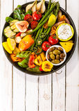 Colorful Grilled Vegetable Bounty on Picnic Table Stock Photos