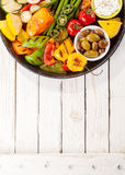 Colorful Grilled Vegetable Bounty on Picnic Table royalty free stock images