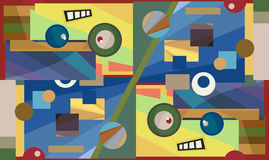 Colorful Gritty Shapes. Abstract rectangles and circles with a cute face Royalty Free Stock Images