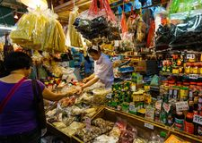 Colorful groceries market stall in Hong Kong Stock Photos