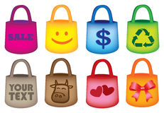 Colorful Grocery Shopping Tote Bags Royalty Free Stock Photography