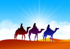 Colorful Group of Arab People with Camels Caravan. Riding in Realistic Wide Desert Sands in Middle East. Editable Vector Illustration Stock Photography