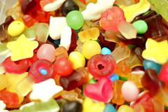 Colorful group of candy close up. With blur Royalty Free Stock Photos