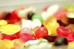 Colorful group of candy close up. With blur Royalty Free Stock Photography