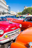 Colorful group of classic american cars in Havana Royalty Free Stock Photos