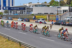 Colorful group of cyclists Stock Image
