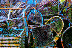 Colorful group of fishing baskets Royalty Free Stock Images