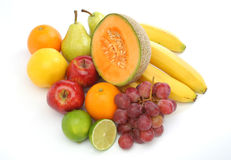 Colorful group of fresh fruits. For a balanced diet. White background. Look at my gallery for more fresh fruits and vegetables stock images