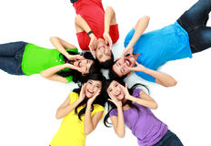 Colorful group of friends on the floor Royalty Free Stock Image