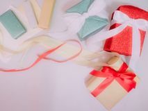 Colorful from group of gift box and ribbon with wraping by shiny Stock Image