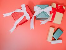 Colorful from group of gift box with wraping by shiny paper for Stock Image
