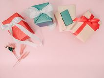 Colorful from group of gift box with wraping by shiny paper and Stock Photos