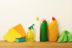 Colorful group of green cleaning supplies stock images