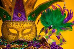 Colorful group of Mardi Gras or venetian mask or costumes on a y royalty free stock photography