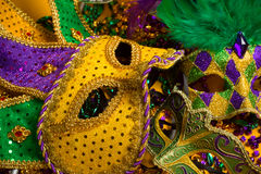 Colorful group of Mardi Gras or venetian masks royalty free stock photography