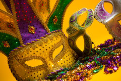 Colorful group of Mardi Gras or venetian masks Royalty Free Stock Photos