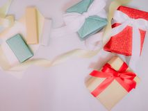 Colorful from group of present box and gold ribbon with wraping Stock Image