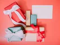 Colorful from group of present box and greet card with wraping b Royalty Free Stock Photography