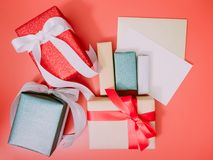 Colorful from group of present box and greet card with wraping b Royalty Free Stock Photo