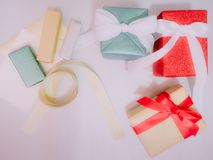 Colorful from group of present box and ribbon with wraping by sh Stock Image