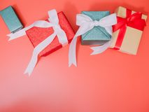Colorful from group of present box with wraping by shiny paper f Stock Photos