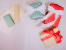 Colorful from group of present box with wraping by shiny paper f Stock Photo