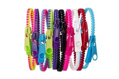 Colorful group of zippers Stock Photos