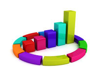 Colorful growing bar chart diagram. 3d render illustration Royalty Free Stock Photography
