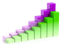 Colorful growing bar chart in two rows business success concept Stock Photos