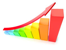 Colorful growing bar chart on white business success concept Royalty Free Stock Photos