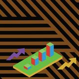Colorful Growing Clustered 3D Bar Chart Graph Diagram Perspective. Two Arrows on Both Sides Pointing Up. Creative vector illustration