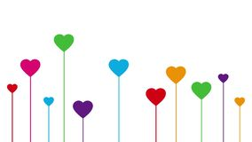 Colorful growing hearts decoration on white background royalty free illustration