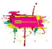 Colorful grunge banner with ink splashes.  Royalty Free Stock Images