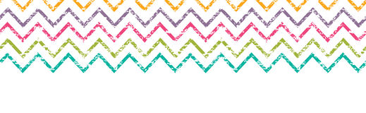 Colorful grunge chevron horizontal border seamless Royalty Free Stock Image