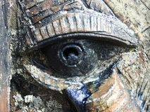 Colorful eye on clay surface texture royalty free stock image