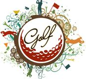 Colorful Grunge Golf Icon Stock Images