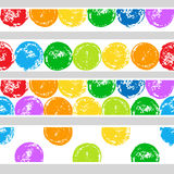 Colorful grunge hand drawn circles seamless borders set on white, vector Stock Photos